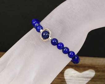 Lapis Lazuli Stretch Bracelet with Sterling Silver Accents