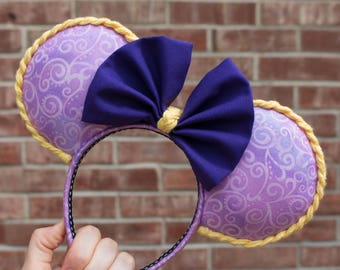 Rapunzel Inspired Minnie Mouse Ears, Disney Inspired, Tangled, Purple Mouse Ear Headband