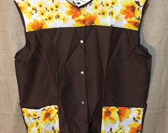 SALE**Vintage Smock XL Wash n' Wear Floral Pattern Button Front Artistic Coverup Retro Brown Yellow Orange New w/ TAGS 60's 70's Pocketed