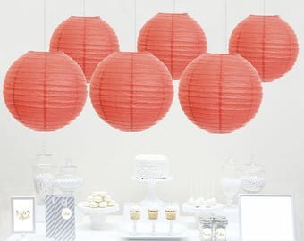 12pcs Coral Paper Lantern / wedding decorations / birthday decor / nursery decor / bridal shower / baby shower / anniversary / Coral