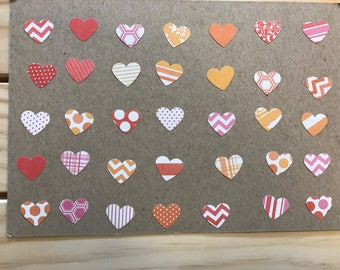 300 piece Heart Confetti Red/Orange/Pink Solid/Stripes/Polka Dot/Plaid