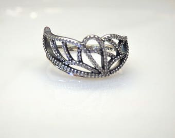Sterling Silver Tiara Cubic Zirconia Accent Ring