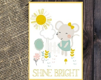 Preschool Classroom Art, Growth Mindset, Classroom Decor, Classroom Poster,Cute Bunny Sunshine, Shine Bright Quote Printable