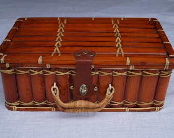 Vintage bamboo suitcase