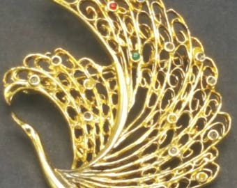 Gold Vintage Peacock Brooch