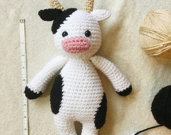 Cuddle Me Cow, Crochet Cow Toy, Stuffed Animal Cow, Cow Plush, Cow Plush Toy, Cow Stuffy, Handmade Cow Plush, Cuddle Cow, Black and White