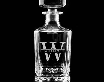 Personalized Whiskey Decanter, Engraved Decanter, Monogrammed Gift, Etched Decanter, Groomsmen Gifts, Wedding Gift Ideas, Custom Decanter