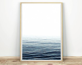 Blue Sea Print - Printable Art, Calm Sea Poster, Ocean Art Digital, Modern Photo Print, Ocean Wall Art, Sea Wall Decor, Ocean Print Art