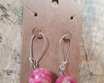 Mystery Pink Stone Earrings