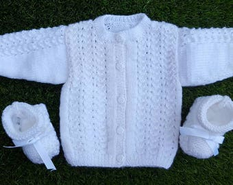 All white baby vest + booties