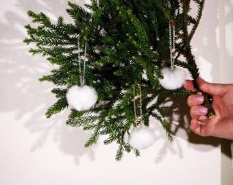 Fluffy SnowBall Christmas tree decoration SMALL