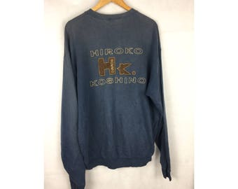 HIROKO KOSHINO Homme Long Sleeve Sweatshirt Pull Over With Big Spell Out Embroiled Logo LL Saiz