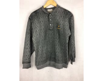 LYLE & SCOTT Long Sleeve Sweatshirt / Pull Over Button Up Small embroidered Logo Medium Size