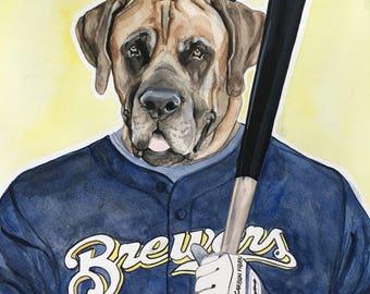 Custom Dog Painting-Dog Portraits-Custom Watercolor Pet Portrait-Christmas Gift-Pet Portrait-Brewers-Baseball-Mastif