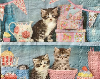 Decoupage Napkins x4, Paper Napkins for Decoupage Scrapbooking Collage Craft Kittens in Cupboard Cupcake 550