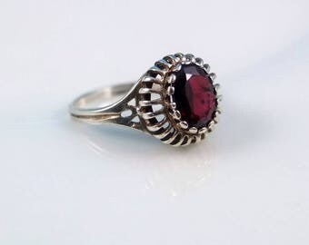 Vintage Silver Garnet Ring - Sterling Silver Ring With A Garnet In An Ornate Setting, January Birthstone, Vintage Silver Ring