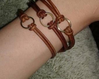 Leather stackable bracelet