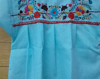 Child Mexican hand Embroidered blouse size 10/12 years old (Blue Aqua)
