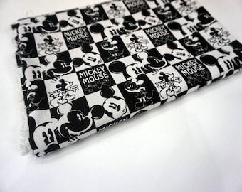 90*140 cm disney Fabrics Cartoon canvas Fabric Fabrics DIY Handmade Cloth black and white mickey