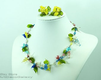 Vintage Italian Venetian Glass Birds Necklace & Earrings