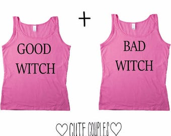 Wicthes Couple Tanktop Shirts Rosa  - good witch bad witch, couple top,couple tshirt,couple shirt, couple shirt, couple tank,