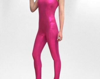 Bright pink metallic unitard/catsuit/bodysuit/leotard size XS