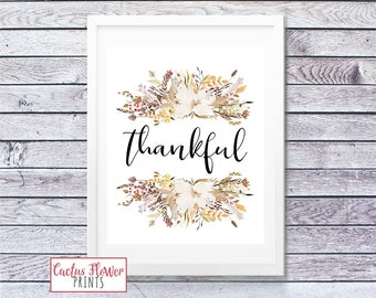Thanksgiving Wall Art, Thanksgiving Printable, Thankful Sign, Fall Wall Art Decoration, Fall Floral Art, Warm Tones, INSTANT DOWNLOAD