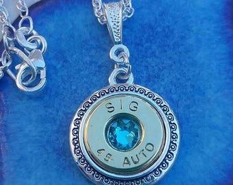 "18"" Bullet Necklace with Swarovsky Crystal"