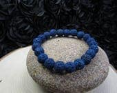 Lava Stone, Bracelet-Blue Lava Rock -Natural Lava Stone-Essential Oils-Blue Bracelet-Diffuser Bracelet-Aromatherapy-Yoga Bracelet-Stackable