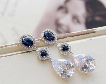 Blue Art Deco Earrings , Vintage Style Crystal  Earrings, Bridal Earrings,  Wedding Earrings, Crystal Drop Earrings,  Crystal  Earrings