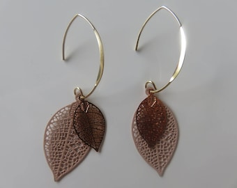 """Aika"", light pink and gold filigree leaf earrings on sleeper gold 14 k Gold Filled"