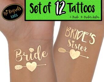 Bride's Sister Tattoo Set of 12 / Bachelorette party favors / Bachelorette tattoo / Temporary tattoo / Favor / Tattoo bride