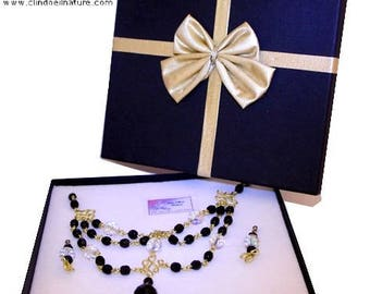 Set necklace and earrings black and Crystal faceted Czech glass beads