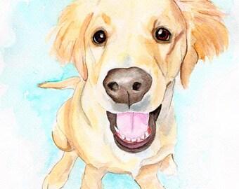 Custom Pet Portrait, Personalized Pet Portrait, Gift for Her, Gift for Him, Custom Pet Painting, Watercolor Portrait