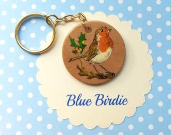 Robin brooch handmade Robin jewelry robim jewellery Robin  badge vintage birch brooch bird brooch bird jewelry bird Robin key chain
