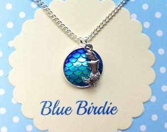 Mermaid necklace mermaid pendant necklace mermaid jewelry mermaid jewellery fish scale mermaid necklace sea creatures nautical mermaid gifts