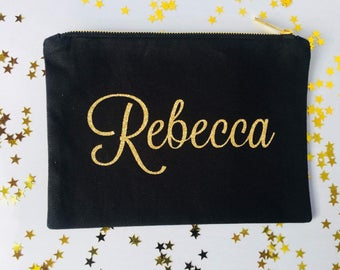 Personalized Cosmetic Bag, Personalized Makeup Bag, Cosmetic Bag, Bridesmaid Gift, Christmas Gift, Clutch, Gift,Bridesmaid Name Bag