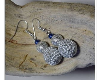 Crochet Earrings / Silver Earrings / Dangle Earrings / Beaded Earrings / Handmade Earring / Round Earring / Fashion Earring / Gift for Women