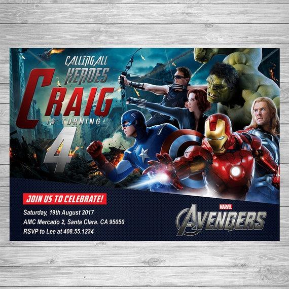 Avengers birthday invitation avengers party invite avengers il570xn stopboris Images