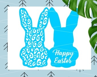 Easter SVG Bunny SVG DIY Easter card Easter favour svg rabbit svg happy easter svg file for Cricut Silhouette Easter cut file