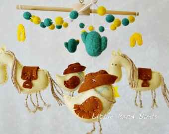 Baby mobile Wild West Felt mobile Exclusive mobiles Baby crib mobile Nursery decor Ceiling mobile Kids decor Baby shower gift Nursery mobile