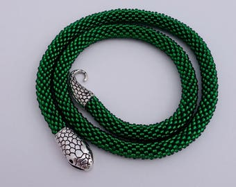 """""""Serpent Dream"""" - crochet chain crocheted from thousands of small pearls"""