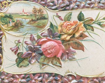 Antique 1900s Floral Postcard, Embossed Card, Floral Bouquet, Friendship Card, Pink and Purple Flowers, Easter Postcard, Spring Colors