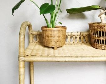 Vintage woven wicker bar cart, planter cart
