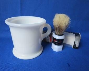 Vintage Milk Glass Platonite Shaving Mug with Brand New Shaving Brush Hazel Atlas Father's Day Gift