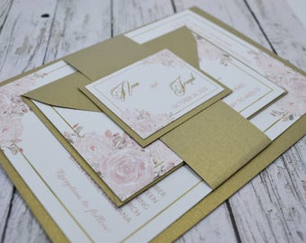 Wedding Invitation Watercolor Rose and Gold Thermography (Raise Ink)