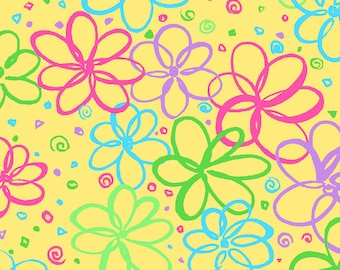 Bloom Doodle Flowers on Yellow Fat Quarter Cotton Fabric (UK)