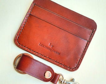 Slim Leather front pocket wallet with excellent keychain valentine's gift! Special offer! One lot - 2 products!