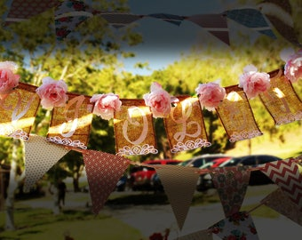 Burlap bunting or banner with name and roses