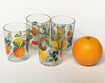 French vintage tumblers with a lovely colourful fruit design